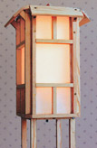 wooden floor lamp with eaves by Lawrence Kinney