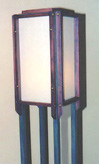 wooden lamp with blue stain by Lawrence Kinney